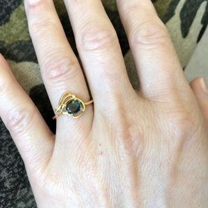 14K Yellow Gold Oval Sapphire Ring